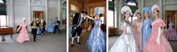 В овальном зале Елагиноостровского дворца начинается бал, разучивается 4 танца XIX века
